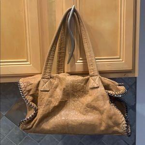 Camel leather satchel w/silver hardware stitching